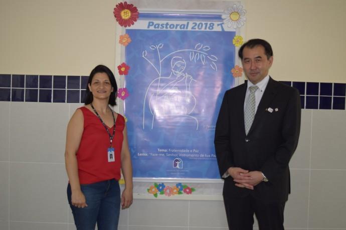 Diretora da Unidade Marcela Mortari com o Cônsul Geral do Japão.
